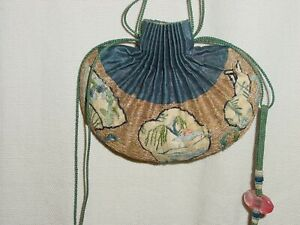 WONDERFUL 2 !! CHINESE SMALL ANTIQUE GOLDBROCADE AND SILK SMALL PURSES **HG*