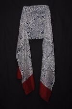 Beige Dark Blue & Red Native American Tribal  Symbols & Dots Print Scarf (S175A)