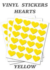 Yellow Heart Stickers (20mm) Self Adhesive Waterproof Vinyl Labels pack of 250