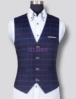 Mens Grid Check Plaid Wedding Sleeveless Dress Formal Slim Fit Waistcoats Vests