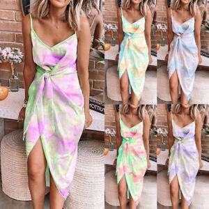 UK Womens Strappy Tie Dye Ladies Tank Sundress Split Loose Holiday Midi Dress
