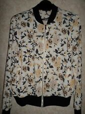 NEW LOOK CREAM BROWN AND BLACK FLORAL LIGHTWEIGHT BOMBER JACKET SIZE 14