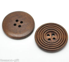 """30PCs Coffee 4 Holes Round Wood Sewing Buttons 30mm(1 1/8"""")Dia."""