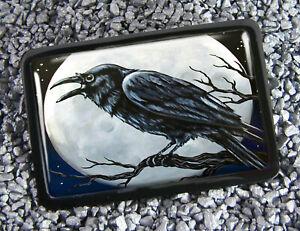 Raven Full Moon Gothic Halloween Crow Men Women Handmade Belt Buckle