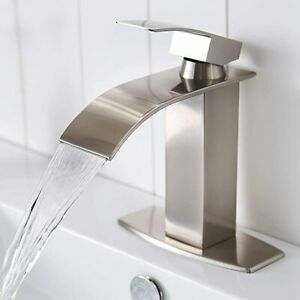 "Brushed Nickel Single Handle Waterfall Bathroom Vanity Sink Faucet with 6"" Cover"