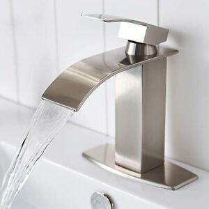 """Brushed Nickel Single Handle Waterfall Bathroom Vanity Sink Faucet with 6"""" Cover"""