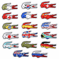 5Pcs National Flags Alligator Embroidered Sew Iron On Patches Fabric Applique