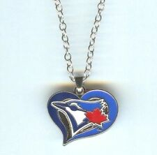 TORONTO BLUE JAYS Heart, MLB Charm, Pendant with .925 Silver Necklace - R184