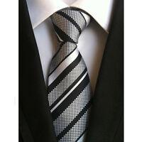 Mens Elegant 100% Silk Stripe Tie JACQUARD WOVEN Necktie Wedding Party Ties New