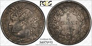PCGS France 1850 A 5 Francs Silver Coin Nice Toned XF40