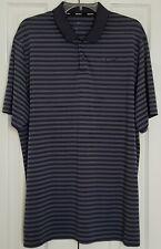 Nike Golf Dri Fit Polo Shirt Gray And Dark Blue Stripes Size Xl