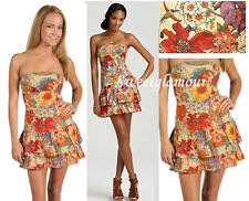 $128 French Connection Vogue Floral Garden Boob Tube Strapless Dress 10 US
