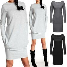 Women Winter Long Sleeve Jumper Bodycon Knitted Sweater Loose Tunic Mini Dress Dark Gray Asian S (us Xs(4) UK 6 AU 8)