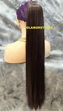 """33"""" Human Hair Blend Long Layered Straight Brown Ponytail HairPiece Extension #4"""