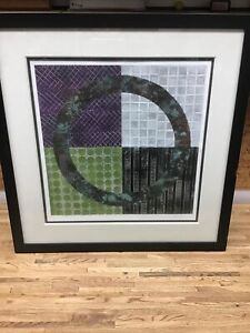 "Karen Musmeci Artist Original Paper / Copper Metal Circle Matted Framed 27""X 28"""