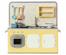 Maileg Miniature Furniture - Metal Retro Kitchen With Utensils & Pots-30x16x33cm