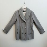 GUESS Wool Blend Gray Pea Coat Women's XL Double Breasted Jacket Blazer Button