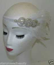 White & Silver Feather Headpiece Flapper Vintage 1920s Great Gatsby Headband M92