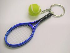 Blue Tennis Racket And Ball Keyring Chrome Metal Key Chain