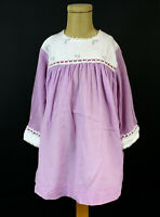Sz 5 Cute Vintage Kate Greenaway Purple Shift Dress Sheer Long Sleeves Some TLC
