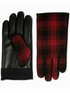Isotoner Mens Red Faux Leather Driving Touchscreen Compatible Winter Gloves XL