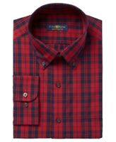 Club Room Mens Red US Size 17 Long-Sleeve Plaid Regualr-Fit Dress Shirt $65 011