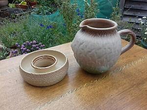 Vintage Arden1930s Pottery Tree Jug and Pretty Lovatt Posy Ring England