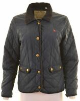 JACK WILLS Womens Quilted Jacket UK 12 Medium Navy Blue Polyester  JR09