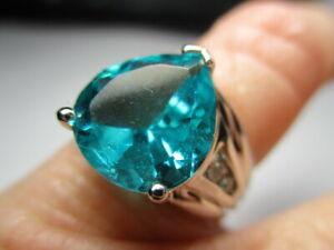 STERLING SILVER 925 ESTATE ROSS SIMONS AQUA TEAL CUBIC ZIRCONIA RING SIZE 5