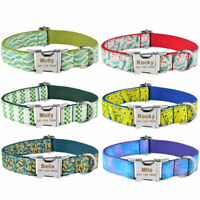 Adjustable Personalized Dog Collar Nylon Custom Engraved Name Metal Buckle SX-L
