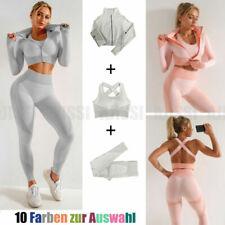 DE Damen Yoga Set Reißverschluss Crop Top BH Hose Sportanzug Gym Trainingsanzug~