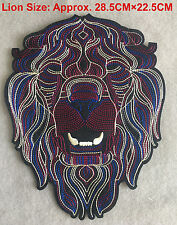 Large LION Head Embroidered Sew Iron On Patch Fashion Applique Decoration DIY