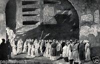 Calixtus Katakombe Rom XL Kunstdruck von 1924 Cäcilie Fest Appia Antica Mönche