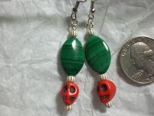Zombie Head Skull Malachite Christmas Earrings