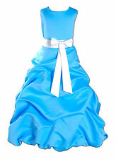 New Blue Turquoise and White Sash Bridesmaid Pageant Flower Girl Dress 7-8 Years