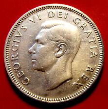 VERY RARE 18 DEGREE DIE ROTATION ERROR 1949  Canada Twenty Five Cents  George VI
