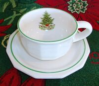 """Pfaltzgraff Christmas Heritage Stoneware Cup and Saucer Set Flat 2 3/8"""""""