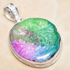 "Handmade Rainbow Solar Quartz Crystal 925 Sterling Silver Pendant 2"" #P06919"