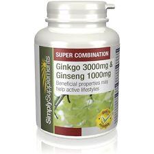 Ginkgo Biloba 3000mg & Korean Ginseng 1000mg 120 Tablets |Sustain Energy Levels
