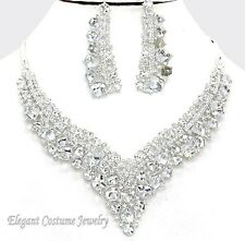 Clear Cubed Crystal Necklace Set Elegant Formal Evening Wedding Prom Jewelry