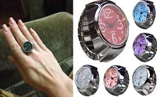 Dial Quartz Analog Finger Ring Watch Creative Steel Cool Elastic (free shipping)