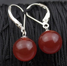 ON SALE New Fashion 10mm Red Jade Round Beads Silver Leverback Hook Earrings