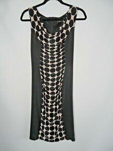 PHASE EIGHT Bodycon Dress Size 10 Polka Dot Black Cream Spot Ruched Midi