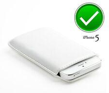 Funda iphone 5S Blanca Pouch Cuero PU calcetin con tira para sacar el Iphone 5S