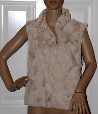 New $128 AQUA Sand Beige Faux Fur Soft Vest Jacket medium