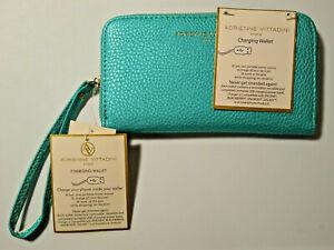 NWT Teal Pearl Pebble Adrienne Vittadini USB Charging Wallet Wristlet Zip Around