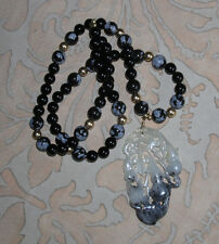 Chinese Carved Stone Gourd Pendant on Snowflake Obsidian & Onyx Bead Necklace