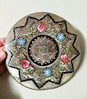 """Brass Wall Round Hanging Vintage Plate Décor Embossed Ornate Art Handmade 7.4"""""""