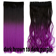 US Ombre Dip Dye Dark Light One PC Clip in Hair Extensions Curly Wavy Straight