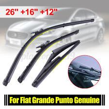 """26""""16""""12""""Windscreen Flat Wiper Blades Front Rear Set For Fiat Grande Punto  --"""
